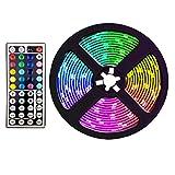 Didad Tira de Luces LED una Prueba de Agua de 5 M con 44 Tiras de Luz RGB Que Cambian de Color una Distancia para JardíN DecoracióN de Bricolaje Enchufe de la UE