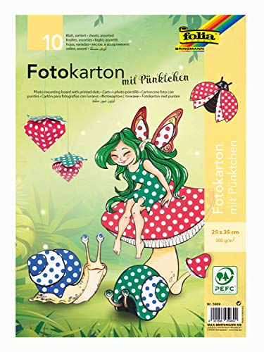 folia 5989 - Fotokarton mit Punkten farbig sortiert, 25 x 35 cm, 10 Blatt, beidseitig bedruckt - zum Basteln und kreativen Gestalten von Karten, Fensterbildern und für Scrapbooking