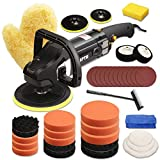 Buffer Polisher, SPTA 7 Inch 180mm Rotary Polisher Car Polisher Electric Polisher RO Polisher & Polishing Pads Set For Auto Buffing and Polishing