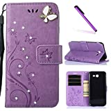 J3 2017 Case,Galaxy J3 Prime Case, LEECOCO Embossed Floral Crystal Diamonds Butterfly