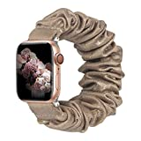 ALNBO Compatible with Apple Watch Band 38mm 40mm 42mm 44mm Soft Floral Fabric Elastic Scrunchies iWatch Bands for Apple Watch Series 6,SE,5,4,3,2,1 42mm/44mm Bling Brown S