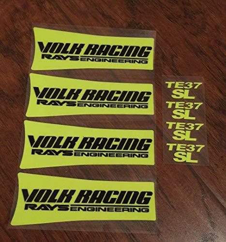 Montree Shop JDM Reflective Volk Racing TE37SL Wheel Sticker Decals Yellow Black Letter Drift