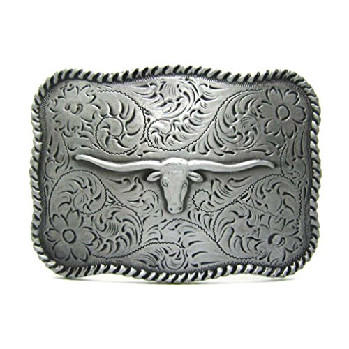 MASOP Vintage Western Cowboy Rodeo Rectangle Cattle Cow Head Belt Buckle Men