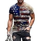wefwef Retro Graffiti USA Estrellas y Rayas patrón de Culturismo Entrenamiento Camiseta para Hombres Confort Entrenamiento Camisas Humedad Wicking Active Athletic Camisas de Manga Corta Top,b,XL