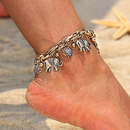 shenlanyu Tobillera vintage de color dorado plateado para mujer, colgante de elefante, cadena para playa, verano, pies de tobillo