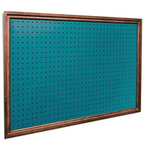 Pegboard Organizer - Craft Room Storage| Nursery Storage| Office Wall Organizer and More| Fits Most 1/4' and 1/8' Pegboard Accessories | Bonus Shelf Included (Teal Green/Walnut)