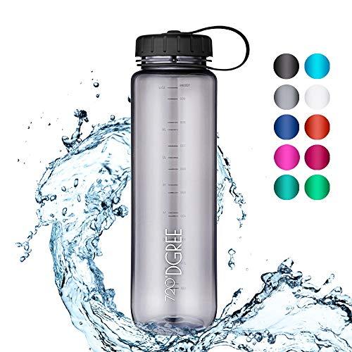 720°DGREE Trinkflasche simplBottle - 1000ml, 1L, Grau - Wasserflasche aus Tritan - Auslaufsichere, Robuste Flasche mit Weithals für Sport, Schule, Gym, Outdoor - Perfekte Sportflasche - BPA Frei