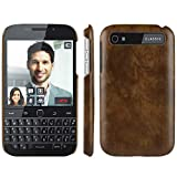 HualuBro Handyhülle für BlackBerry Classic Hülle, Retro PU Leder Ultra Slim Stoßfest Bumper Hülle Cover Schutzhülle Lederhülle Backcover für BlackBerry Classic Tasche (Braun)