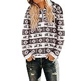 Felpe da Donna -Donne Oversize Inverno Caldo Pullover Maniche Lunghe Outerwear Fuzzy Casual Allentato Felpe con Cappuccio da Donna(caffè 4,3XL)