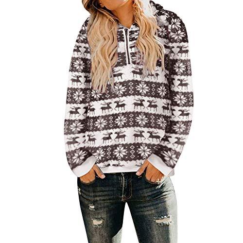 TEBAISE Damen Christmas Pullover Weihnachtsmann Schneemann Hoodies Sweatershirt Sweater