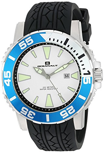 Oceanaut Men's 'Marletta' Quartz Stainless Steel and Silicone Watch, Color:Black (Model: OC2917)