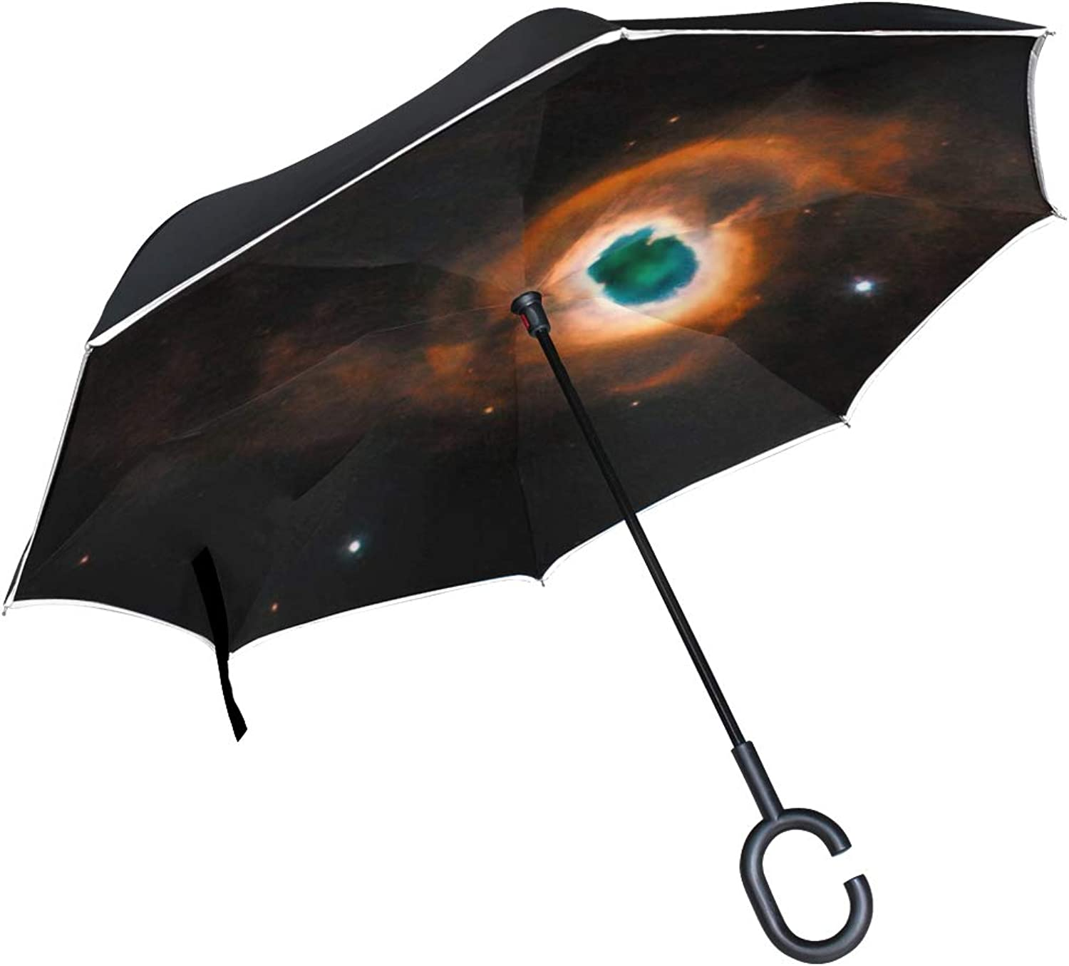 Double Layer Ingreened Kohoutek 4 55 K 4 55 Planetary Fog Umbrellas Reverse Folding Umbrella Windproof Uv Predection Big Straight Umbrella for Car Rain Outdoor with CShaped Handle