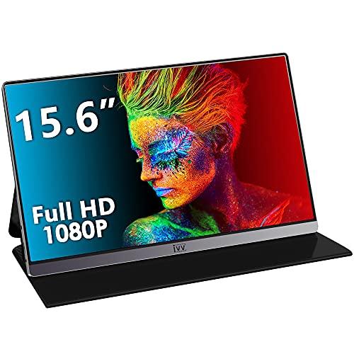 Moniteur Portable, IVV 15.6 Pouces 1080 FHD Ecran USB-C, Télétravail ou Gaming, écran IPS avec HDMI/Type-C pour Ordinateur Portable, PC, MacBook Pro, Raspberry Pi, Xbox, PS5, Switch (Argent)