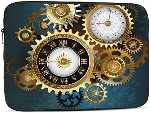 Retro Birds Clocks - Funda para ordenador portátil compatible con 10 – 17 pulgadas, con dos relojes Steampunk con engranajes, 15 pulgadas