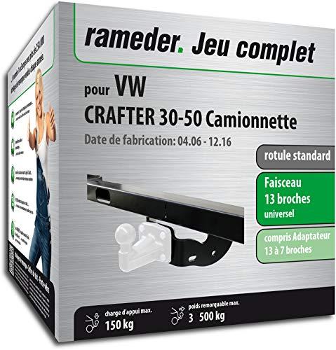 Rameder Pack, attelage rotule Standard 4 Trous livrée sans rotule + Faisceau 13 Broches Compatible avec VW Crafter 30-50 Camionnette (161520-05529-1-FR).