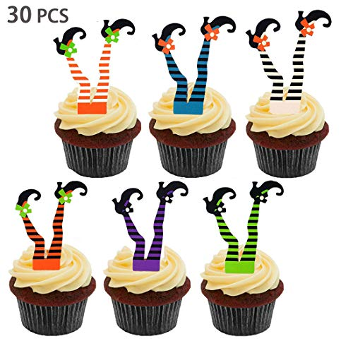 Halloween Witch's Boot Paper Cupcake Toppers Party Decorations Kit - Witch Boot Legs Cupcake Topper Wrapper Liners, Witch Feet shoes, Fall Holiday, Halloween Birthday Gifts Table Supplies, Set of 25