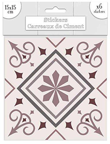 Decoratie Ref1O19 Deco.35 - sticker, tegels, zelfklevend, roze, motief 5-15 x 15 cm - 6 stuks