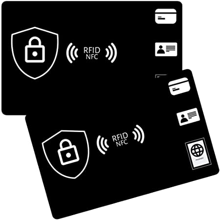 RFID Blocking Card (2-Pack) Credit Card Protector, RFID Blocker Wallet Protection (Black)