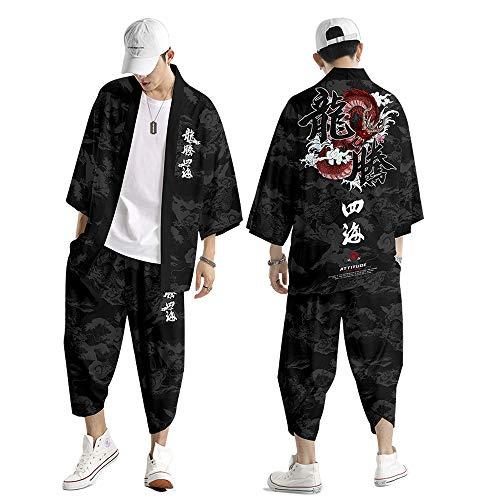 Set Giacca Kimono da Uomo,Primavera Ed Estate Pantaloni Harem Giapponesi Taglie Forti,Cardigan Haori con Stampa retrò Drago Cinese Creativo S-6XL,Black-6XL