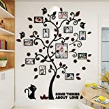 DIY 3D Acrylic Wall Stickers Photo Family Tree Wall Decal. Easy to Install & Apply History Decor Mural for Home, Bedroom Stencil Decoration(cat)