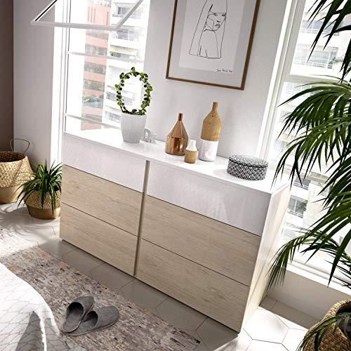 KITKAY Cómoda Doble Oslo 6 cajones Blanco/Natural