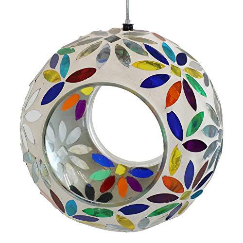 Sunnydaze Outdoor Hanging Fly-Through Bird Feeder with Rainbow Daisies Mosaic Glass Design, 6-Inch