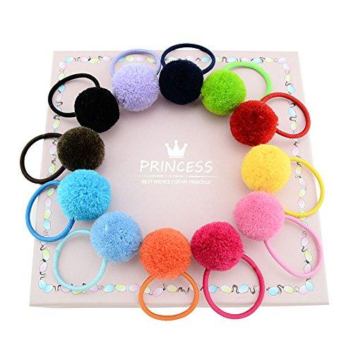 12 lacci per capelli per bambine, accessori per capelli a forma di pallina di peluche, in tinta unita, con elastico, fatte a mano
