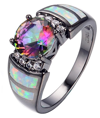 SaySure - Big Rainbow Opal & Crystal CZ Ring 10KT Black Gold (SIZE : 11)