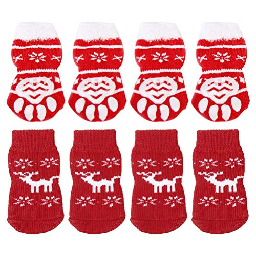 Hundkläder och tillbehör- 8st jul varma bomullsstrumpor jul tema husdjur hund katt halksockor husdjur strumpor leveranser storlek m röd stil 1 4