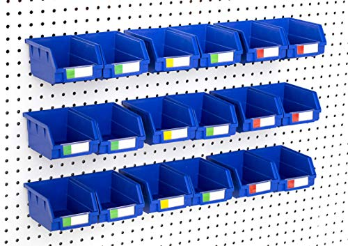 Pegboard Bins – 18 Pack Blue Large - Hooks to Any Peg Board - Organize Hardware, Accessories, Attachments, Workbench, Garage Storage, Craft Room, Tool Shed, Hobby Supplies, Small Parts