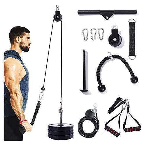 HBBY Fitness Lat Pulldown Cable Polea System, Tricep Pull Down Cuerda Polea Accesorios para Polea, Equipo de Gimnasio DIY para Pulldowns, Bíceps Curl, antebrazo, Polea de entrenamiento