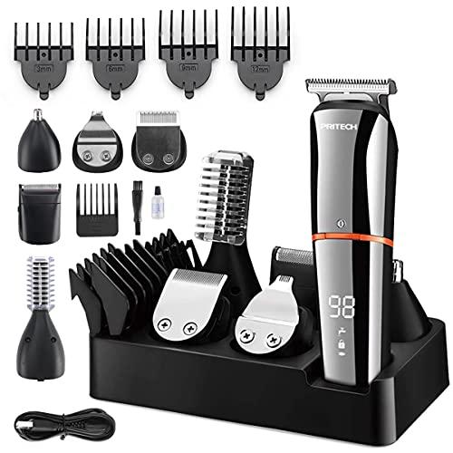 Cortapelos para hombre, cortadora de pelo profesional, recortadora de barba, recortadora de barba para hombres, recargable por USB, multifunción 6 en 1, inalámbrica.