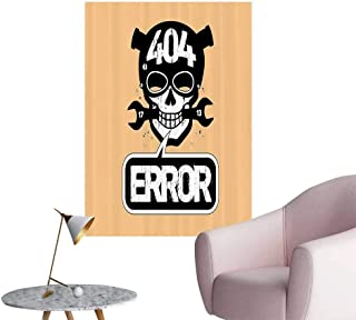 Modern Decor Page Not Found Error with Carto Skull Computer InternPage ilure Alert Imag Ideal Kids Decor or Adults,20
