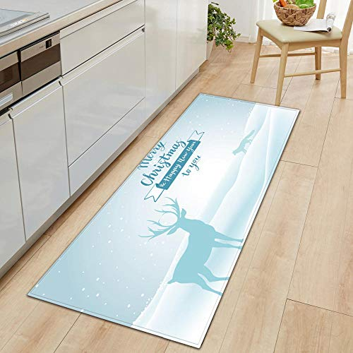 XIAOZHANG long runner door mat rug White creative deer Crystal velvet Floor Rugs Anti Skid Mats Living Room Bedroom Kitchen 60x180CM