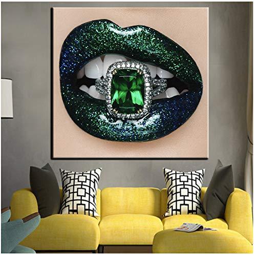 chthsx kamerdecoratie wandschilderij canvas kunst edelsteen ring binnenin lippen afbeelding posters en prints lamina's -60x60cm geen lijst