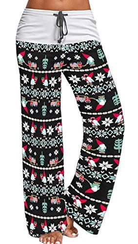 X-Image Womens Casual Santa Elf Pants Stretch Cotton Pajama Pants Lounge Xmas Christmas Sleepwear Pants Santaclaus Gift, Medium