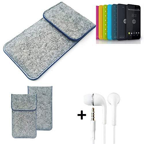 K-S-Trade® Filz Schutz Hülle Für Shift Shift4.2 Schutzhülle Filztasche Pouch Tasche Handyhülle Filzhülle Hellgrau, Blauer Rand + Kopfhörer