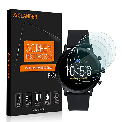 AOLANDER Compatible with Fossil Gen 5 Verre Trempé Protecteur d'écran ANTI RAYURES - SANS BULLES D'AIR Film Protection en écran Dureté 9H Glass Screen Protector [Lot de 4]