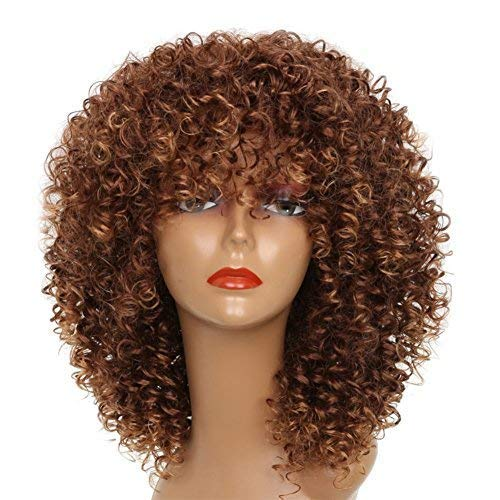 XINRAN Brown Curly Afro Wig for Black Women,Short Kinky Curly Wig with Bangs,Synthetic Afro Full Hair Wig 14inch(Light Brown)
