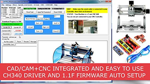 CAD CAM CNC Mill Software for GRBL, CNC 3018, Arduino CNC Shield, A4988 Driver. Design your part, generate the g-code, and run your CNC with a fully integrated Software that includes tutorial videos.