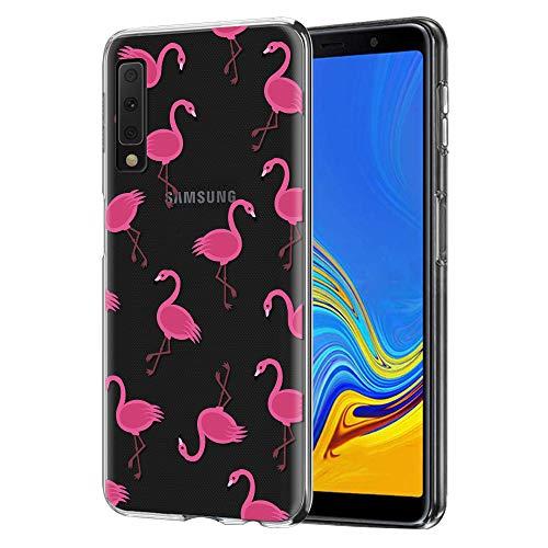 ZhuoFan Cover Samsung A7 2018, Custodia Cover Silicone Trasparente con Disegni Ultra Slim TPU Morbido Antiurto 3D Cartoon Bumper Case Protettiva per Samsung Galaxy A7 2018 (Fenicotteri)