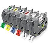 Pristar 18mm Compatibile Nastri per Etichette per Brother TZe-141 TZe-241 TZe-441 TZe-541 TZe-641 TZe-741 per Brother PTouch CUBE PLUS D600VP P710BT D400VP 1830VP P750W P700 D450VP E550WVP E550wvp