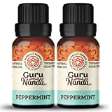 GuruNanda Peppermint Essential Oil (Pack of 2) - 100% Pure Therapeutic Grade, Aromatherapy for Healthy Breathing and Digestion, Manage Headache and Stress with Fresh Menthol Scent (15 ml x 2)