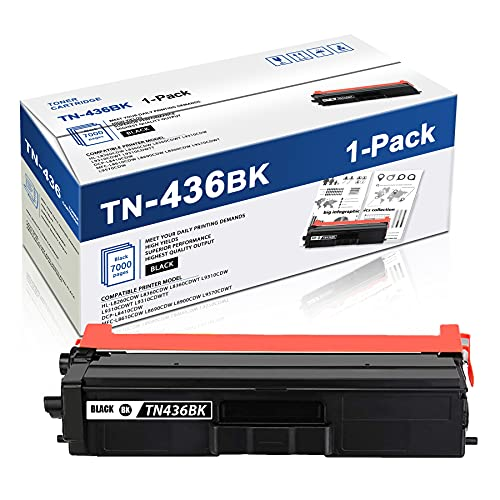 1 Pack Black TN436BK Toner Compatible TN436 TN-436 Extra High Yield Toner Cartridge Replacement for Brother MFC-L8610CDW L8690CDW L8900CDW L9570CDWT L9570CDW HL-L8360CDW L8260CDW DCP-L8410CDW Printer.