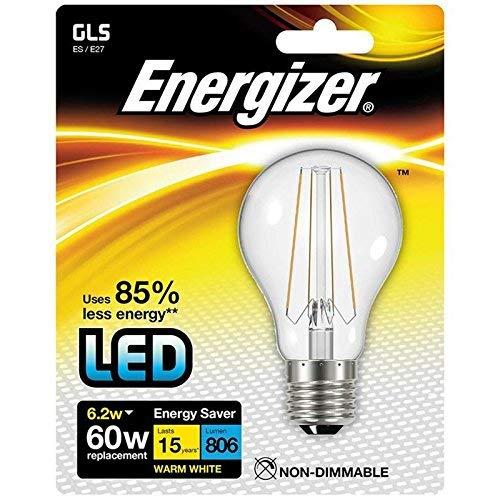 Energizer 9026 LED Filament GLS Lampe E27 6,2W en Chaud Blanc dans Blister, 6 W