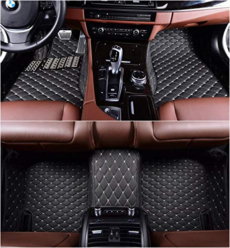 OkuTech Custom Fit XPE-Leather All Full Surrounded Waterproof Car Floor Mats Floor Liner for Mercedes Benz GLB Class GLB250 5 Seat Black with Beige Stitching