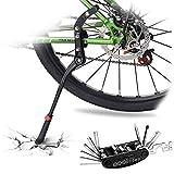 DOBEN Fahrradständer Einstellbarer - Hinterbauständer Aluminiumlegierung - Anti-Rutsch Gummi Fuß Seitenständer für 24-29 Zoll - Fahrrad Ständer/Kickstand/Prop Stand für Mountainbike/MTB, und mehr