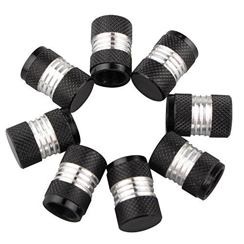 Futheda 8 Tapones de aleación de Aluminio para válvulas de neumáticos universales de Color Negro para Coches, Motos o Motos Schrader (Negro)