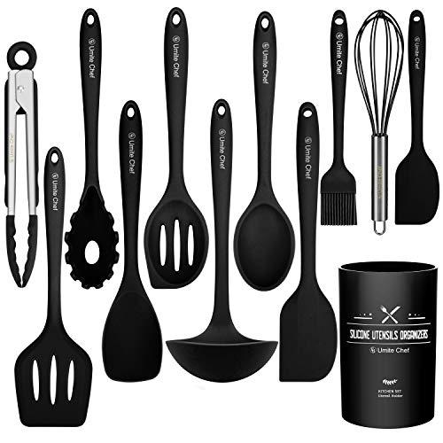 Küchenhelfer-Set, 12-teilig, Silikon-Küchenutensilien – Umite Chef Antihaft-Kochgeschirr mit Spatel Set – Farbige beste Küchenhelfer mit Utensilientopf (schwarz)