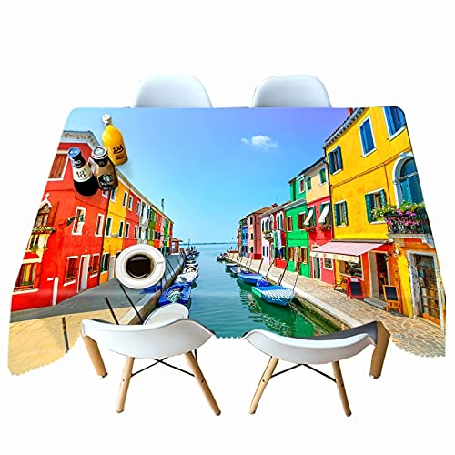XXDD Fashion Printed Tablecloth Color Town Pattern Rectangular Tablecloth Washable Dustproof Table Cover A9 140x160cm